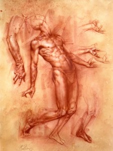 Charles-Miano-artwork-Study-of-Achilles-artwork-Red-Chalk-on-Paper