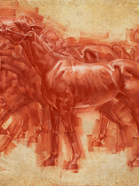Charles Miano artwork cavallo Red Chalk on Paper