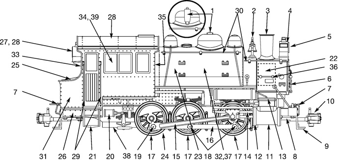 USA trains Dockside Steam Locomotive Parts List