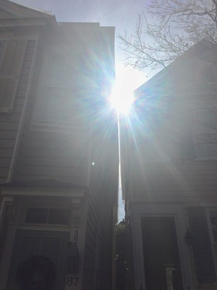Despite the glare of the sun, you can see how the gap near the roof is much smaller than the gap near the ground.
