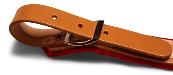 accordion straps tan and red leather