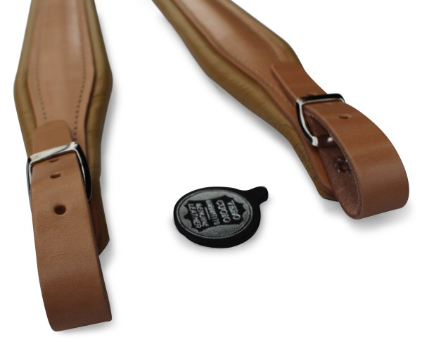 leather accordion straps in tan