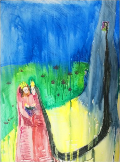 """""""Rapunzel, Rapunzel"""", Watercolour Pencil on Canvas, 2015, 92 x122cm, Charlie Kirkham."""
