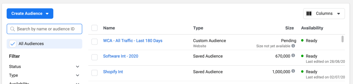 All traffic website custom audience size pending