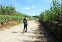 Walking through the corn fields on our route up