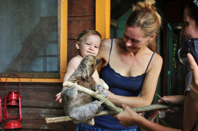 Baby and baby sloth at Tipi Jungla