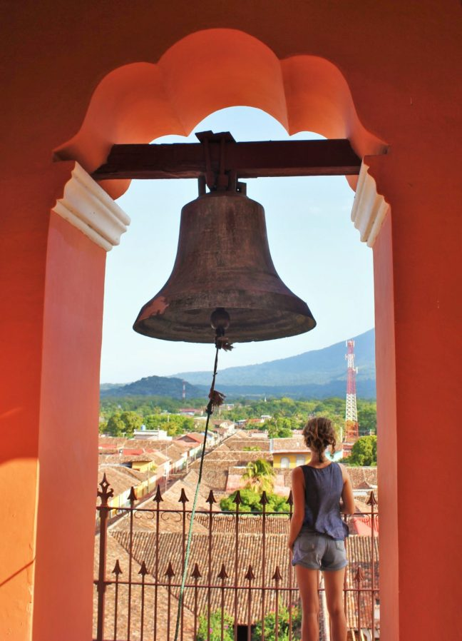 Charlie on Travel in the red bell tower