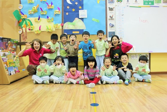 Teaching English in Taiwan - Charlie on Travel - My Kindy class - they are actually called 'Dolphin' class but always preferred being lions