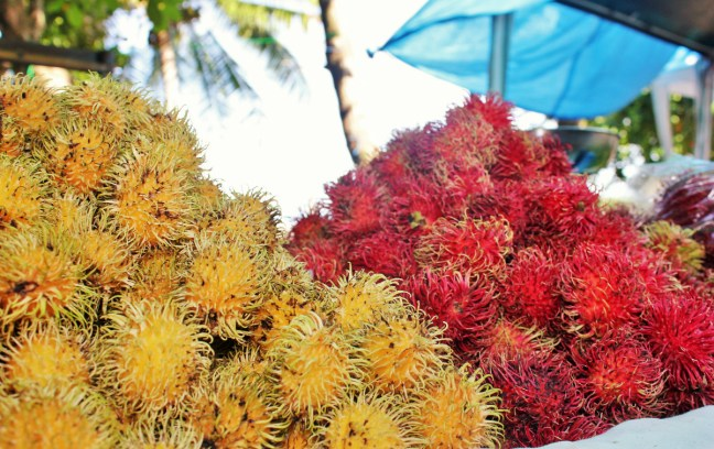 8 Rambutans at the farmers market in Quepos Costa Rica - Charlie on Travel