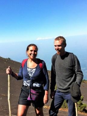Luke and his mum hiking Acatenango volcano