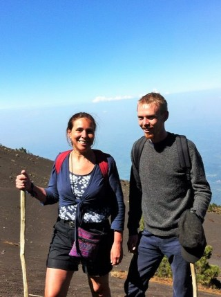 Luke and his mum hiking Acatenango volcano
