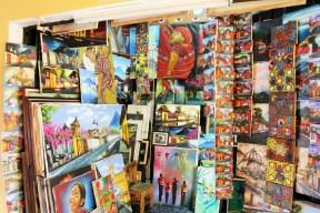 Artisan market oil paintings Antigua Guatemala - Charlie on Travel