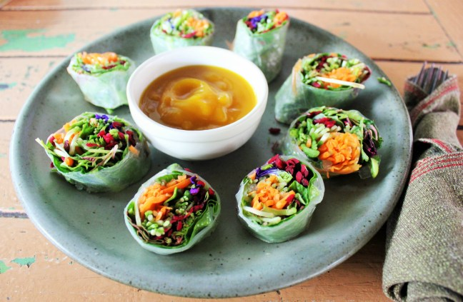 Fresh vegan springrolls at Imm Aim vegetarian cafe Chaing Mai Thailand - Charlie on Travel
