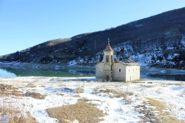 Sunken church in Mavrovo Macedonia - Charlie on Travel