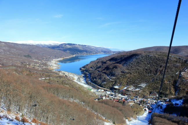 View over the lake skiing in Mavrovo Macedonia - Charlie on Travel