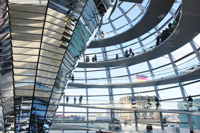 Inside the Dome at Berlin's Reichstag, the world's greenest parliament building