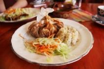 Vegetarian stew and brown rice