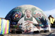 Fish ball art mural Isla Holbox Mexico - Charlie on Travel