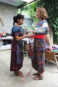 Trying on typical Guatemalan clothing