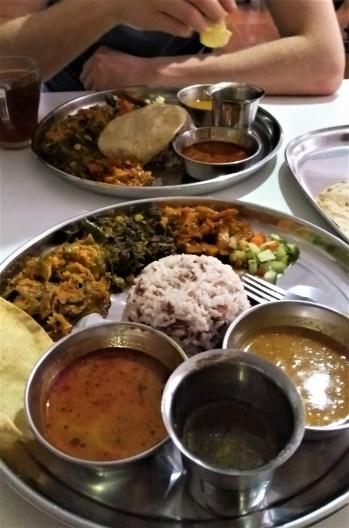 Vegetarian thalis at Ganga Cafe