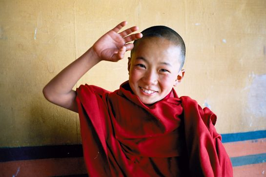Novice monk, Bhutan - 1986, by Charlie Pownall