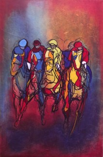 """Last Race of the Day, Oil on Paper, Mounted on Canvas, 24"""" x 36"""", Sold"""