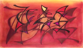 """Shadow Dance, Mixed Media on Paper, 24"""" x 14"""""""