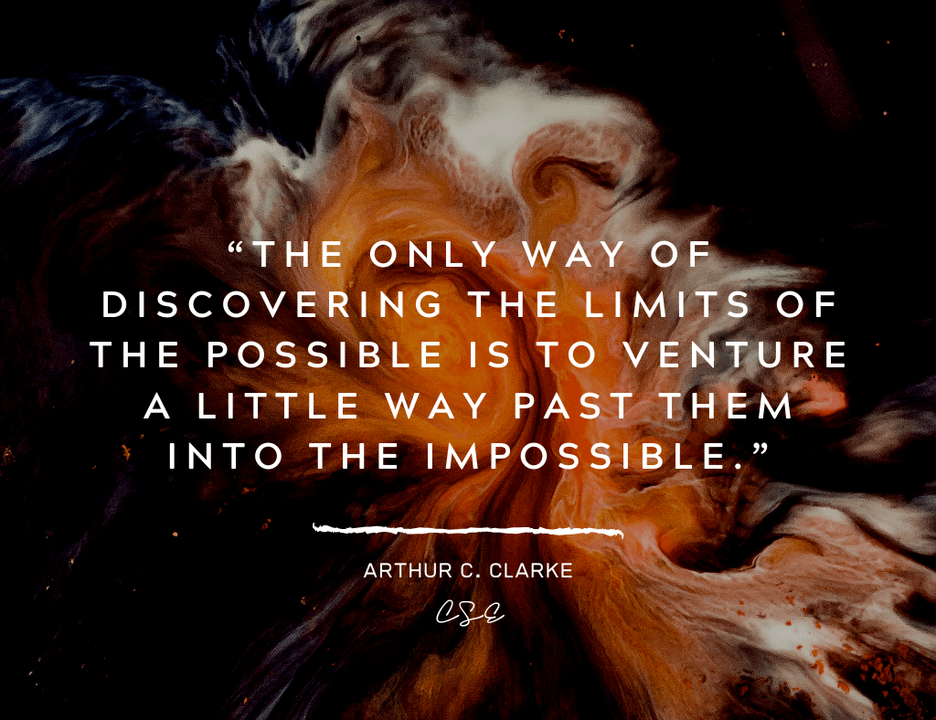 Music, Quotes & Coffee - picture of a quote by Arthur C. Clarke about discovering the limits of the impossible