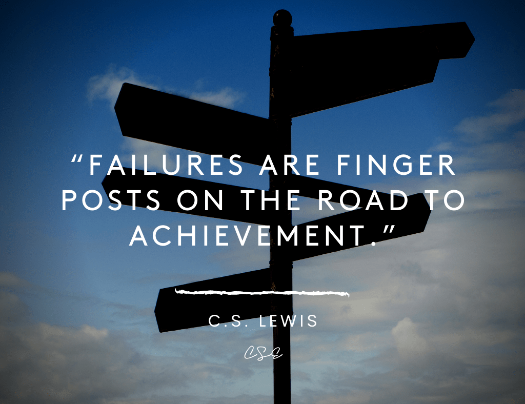 Failures are finger posts on the road to achievement - cs lewis