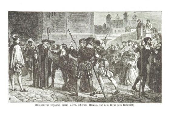 Ilustracja przedstawiająca prowadzenie Tomasz Morusa na ścięcie. Źródło: profil British Library na flickr.com
