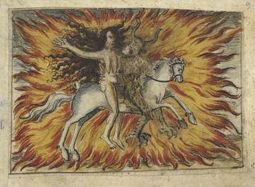 Czarodziejka z diabłem na koniu. Źródło: Uniwersytet w Zurychu. Po niemiecku brzmi to tak: Zauberin reitet mit dem Teufel auf einem Pferd. Około 1560. Nie pasuje do książki, ale całkiem ładny rysunek.