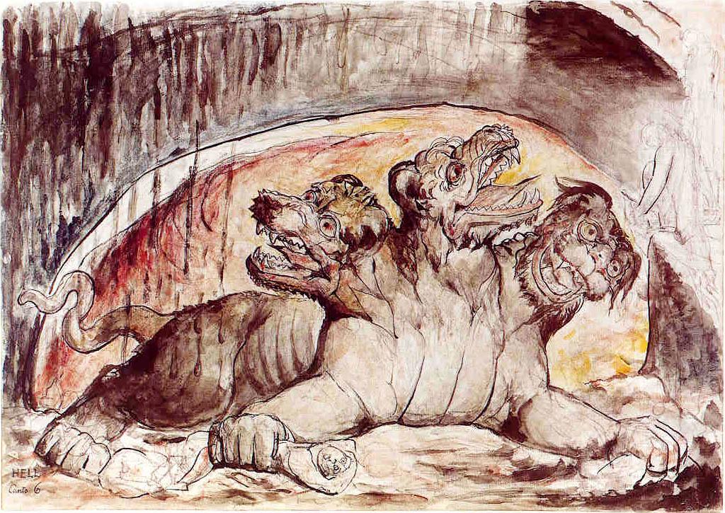 Cerber według wizji Williama Blake. Źródło: http://commons.wikimedia.org/wiki/File:Cerberus-Blake.jpeg