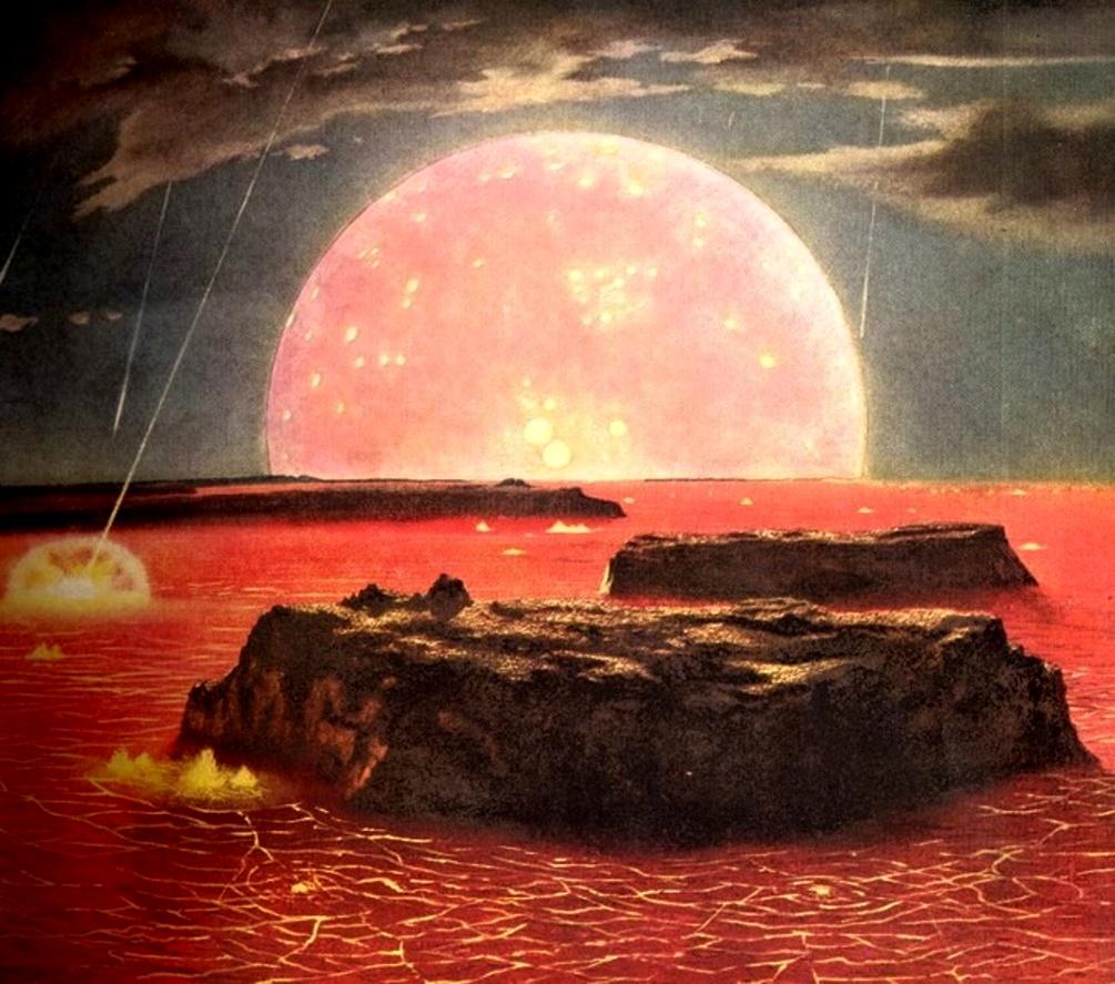 Ładny obrazek. Chesley Bonestell - Terre primitive. Źródło: http://sciencefictiongallery.tumblr.com/post/92509115116/chesley-bonestell-terre-primitive