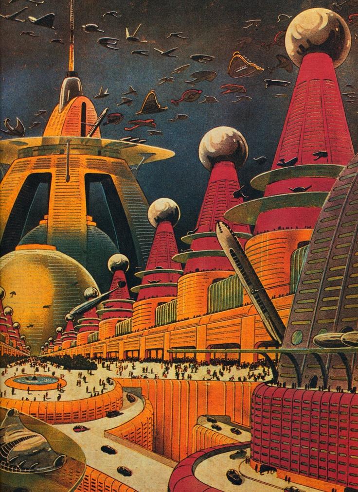 Miasto przyszłości. Źródło: http://www.pinterest.com/pin/172825704423043813/