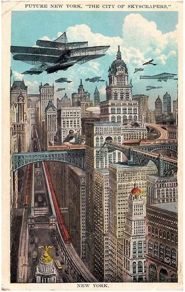 Trochę wiktoriańska wizja miasta przyszłości. Źródło: pinterest.com