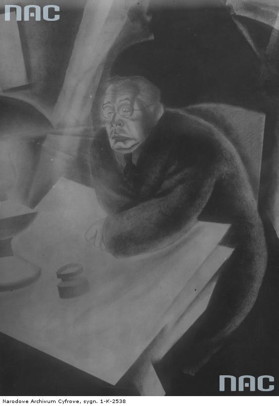 Karykatura Adolfa Nowczyńskiego narysowana przez Zdzisława Czermańskiego. Źródło: http://www.audiovis.nac.gov.pl/obraz/119671/67ba4504ed3a4034dc234fe6c0504aa1/