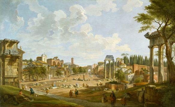A tu taki Rzym z 1747 roku. Źródło: http://www.wikiart.org/en/giovanni-paolo-panini/view-of-the-roman-forum-1747#close