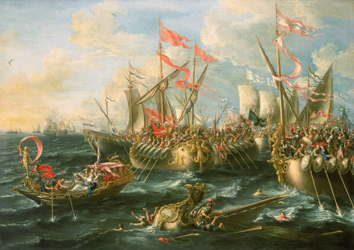 Bitwa morska pod Actium. Źródło: https://commons.wikimedia.org/wiki/Category:Ancient_Rome_in_history_paintings#/media/File:Castro_Battle_of_Actium.jpg