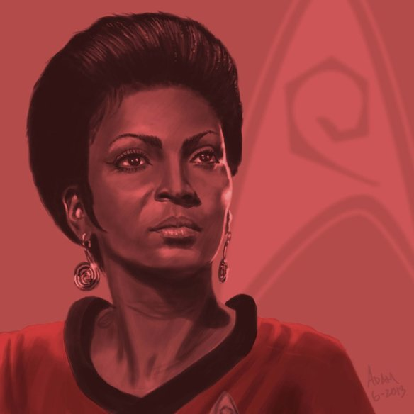 A tutaj bardzo ładny portret Uhury, autorstwa jadamfoxa. Źródło: http://www.deviantart.com/art/Star-Trek-TOS-portrait-series-03-Uhura-Nichols-377406199