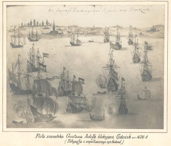 A tu według opisu flota szwedzka blokuje Gdańsk. Źródło: polona.pl