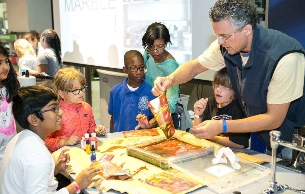 marbling workshop at 2016 Charlotte Mini Maker Faire