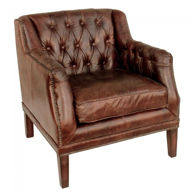 Cigar Leather Tufted Henry Chair