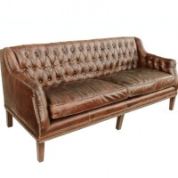 Cigar Leather Tufted Henry Settee Sofa