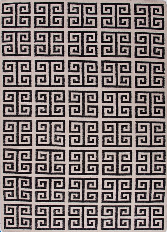 Greek Key Flat Wool Rug Black White Urban Bungalow Melina