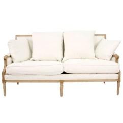 Classic Sofa Outdoor Corner Homebase Louis Down Settee In Cream And Linen Zoom