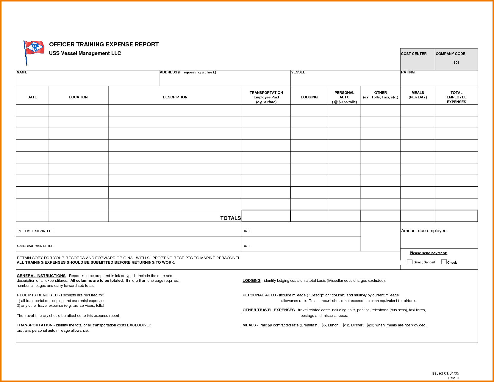 Blank Expense Report