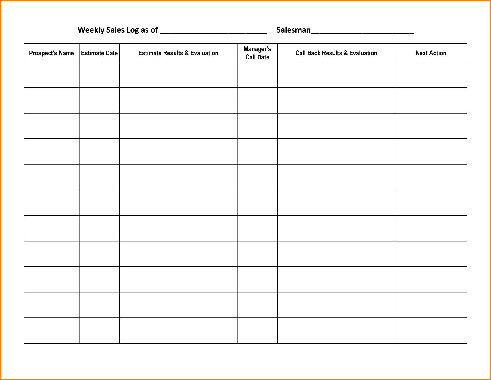 Call Log Sheet