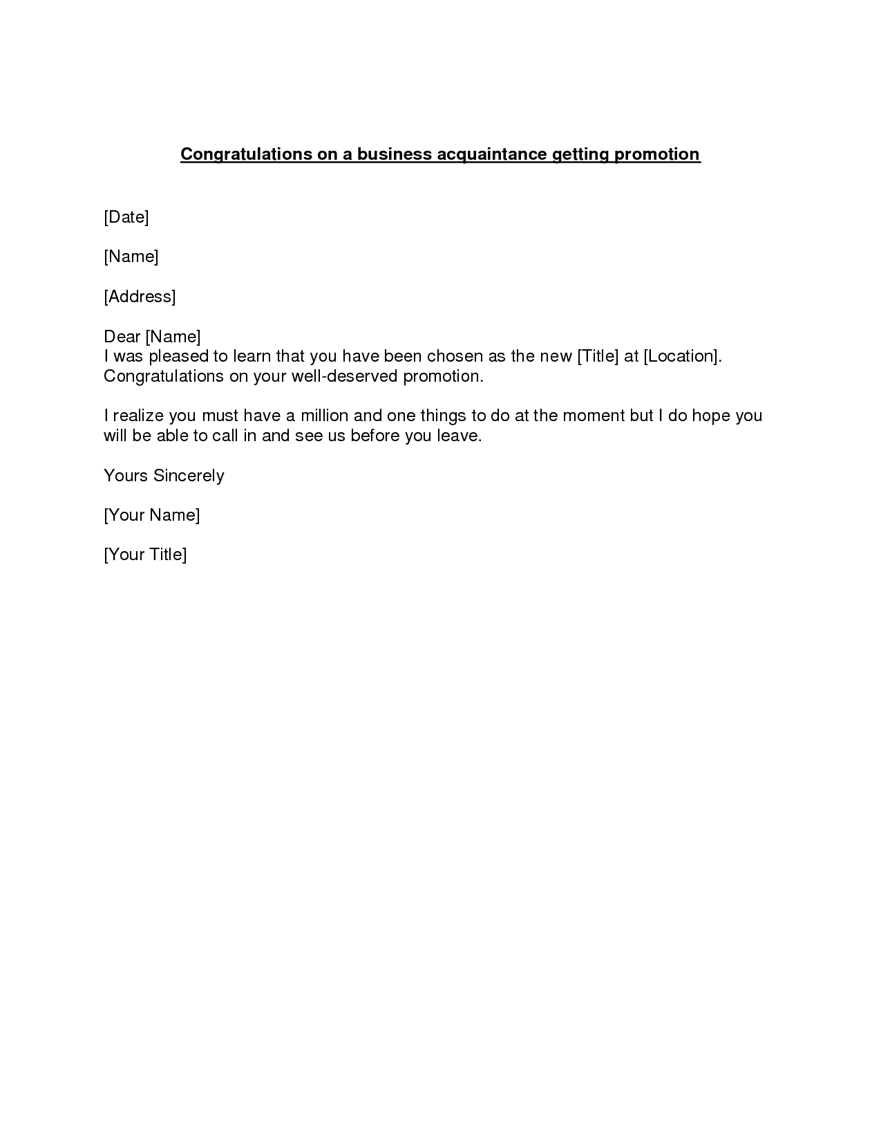Letter Congratulation Example