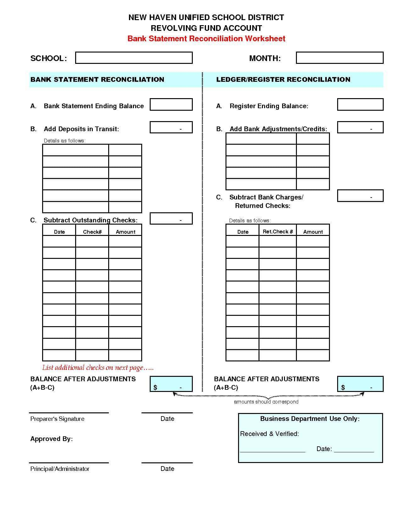 Daily Cash Register Balance Sheet Template