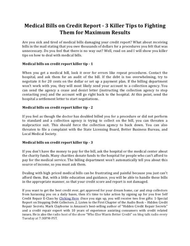 sample letter to dispute medical bills on credit report invsite co